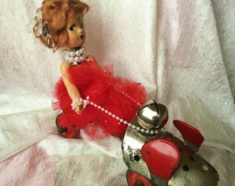 Ava - found object assemblage art steampunk upcycled doll vintage roller skate