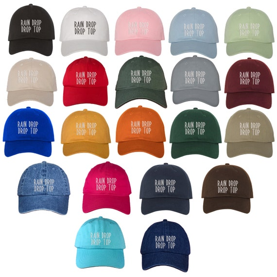 Rain Drop Drop Top Dad Hat Embroidered Baseball Cap Dad HatLow Profile Curved Bill Hats - Multiple Colors