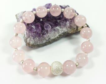 Madagascar Rose QuartzBracelet w/ Sterling Silver,Grade A,10mm, Rose Quartz Bracelet, Pink Bracelet, Gift for Her,For Wife,For Friend