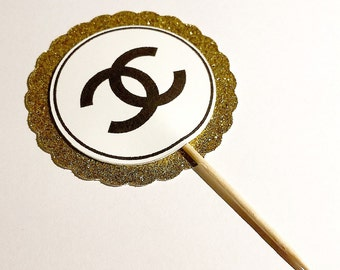 Chanel Inspired Cupcake Toppers - Gold - Birthday - 1st birthday - Bridal Shower - Baby Shower