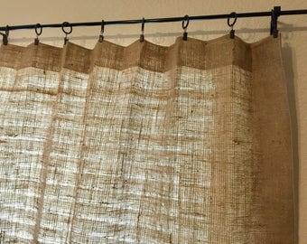 "Burlap Curtains Burlap Panels Valance 45"" width - Choose Length - Custom Orders are Welcome"
