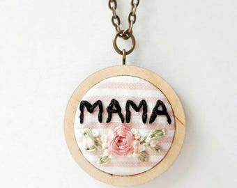 Hand Embroidered Floral Mama Pendant