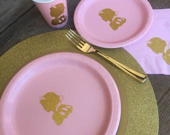Pink and Gold Glitter Snow White Princess Cups, Plates, and Napkins, Pink and Gold Birthday, Snow White Princess Party