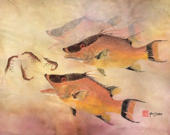 Gyotaku Print of Hog Fish with Shrimp