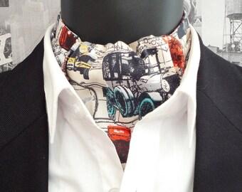 Cravat, reversible cravat, ascot, historic cars print on a beige background, rust paisley on the reverse side