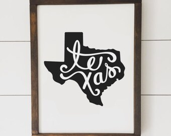 Texas State Sign // Framed Wood Sign // Farmhouse Decor // Farmhouse Sign // Home State // Texas // State Sign // Gifts for Her