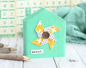 Mint House with Pinwheel. Choose Your Word.
