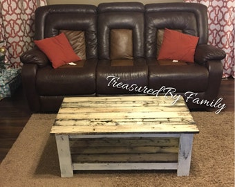 Handmade Coffee table Distressed white with barnwood effect shelves primitive rustic farmhouse style