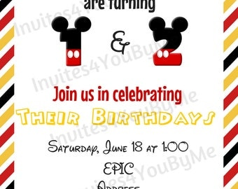 Child birthday invitation, customizable characters, mickey minnie invitation
