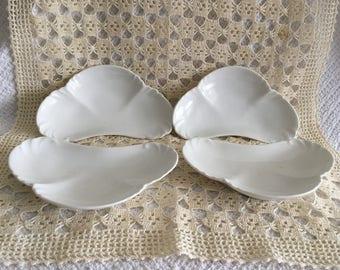 Limoges Bone Dishes, White Bone Dishes, Set of 4,  CFH/GDM Limoges France, Charles Field Haviland, Gerard, Dufraisseix and Morel, 1880s
