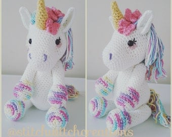 LAVENDER UNICORN Crochet Pattern - Amigurumi PDF instant download