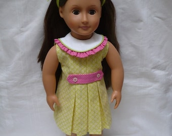 "1930's sleeveless dress for 18"" doll in yellows, greens and pinks"