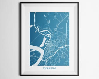 Map of Vicksburg, Mississippi Abstract Street Map Print