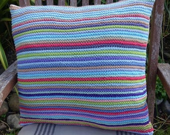 Multicolour Reversible Striped Knitted and Fabric Cushion Pillow Cover,  16 x 16 inches