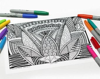 Mandala coloring, drawing #0859 printed on cardboard, coloring of relaxation, lotus