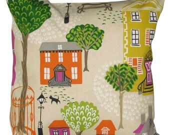 Sanderson Jubilee Square Orange & Purple Cushion Cover