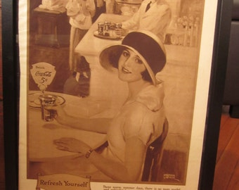 1924 Coca Cola Framed Advertising for Collectors and Home Decor