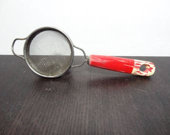 Vintage Small Metal Mesh Strainer or Sifter with Red Chippy Paint Wooden Handle - Rustic Kitchen Cooking Utensil/Gadget