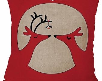 Mistletoe Kissing Reindeer - Pillow Cover