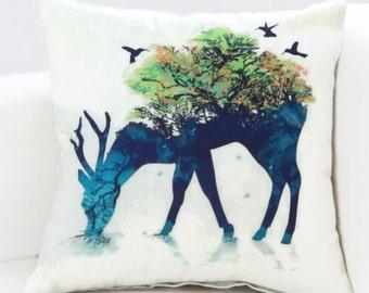 Double Exposure Deer in the Woods - Pillow Cover