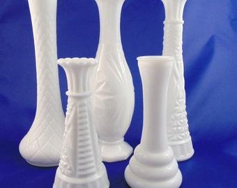 Vintage Milk Glass 5 Bud Vase Collection DIY Wedding Decor