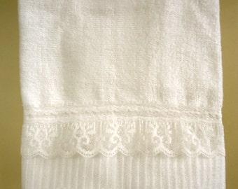 ORGANZA LACE Hand Towel (1) White 100% Cotton Velour