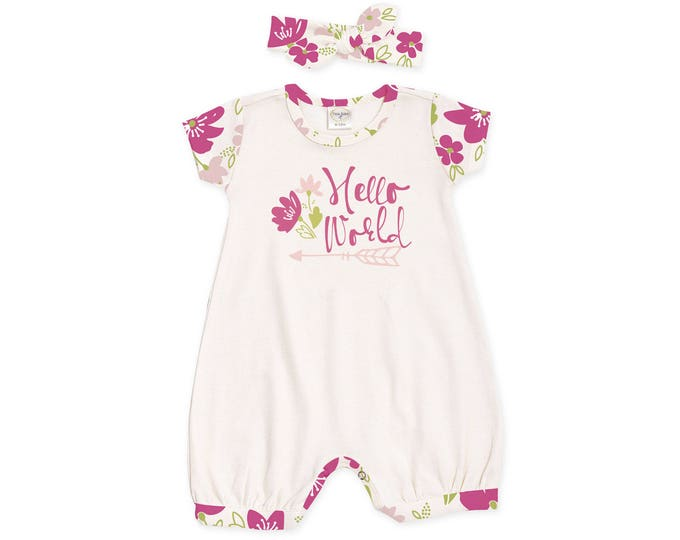 Newborn Girl Outfit, Baby Girl Romper, Baby Summer Outfit, Pink Floral Bubble Romper and Headband, Hello World, Tesababe RH520IYFM0248