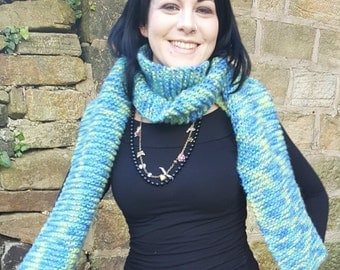 large handknitted lambswool scarf