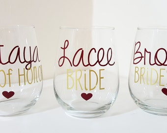 Personalized Bridesmaid Wine Glasses, Personalized Bachelorette Glasses, Bachelorette Party Wine Glass