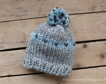 Tiny Hearts Slouch Pom Pom Newborn Hat, Newborn Hat, Newborn Pom Pom Hat, Knit Newborn Hat, Hearts Love Newborn Hat,  Newborn Hat, Love