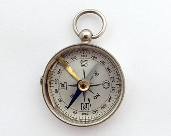 Vintage French Pocket Compass on a Chain