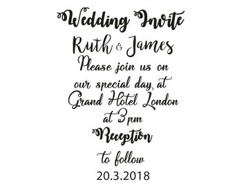 Wedding invitation stamp personalised