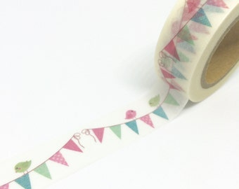Pink and Blue Bunting Washi Tape 15mm x 10m