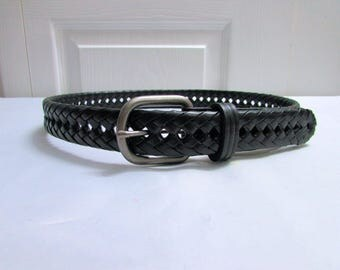 Vintage Black Braided Woven Thick Genuine Leather Belt Size Small