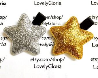 Gold Glitter Star Hair Clip, Silver Glitter Star Hair Clip, Gold Silver Star Hair Clip, Baby Hair Clip, Girls Hair Clip, Birthday, Holiday