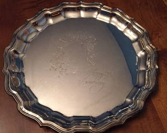 25th Wedding Anniversary Silver Plated Tray