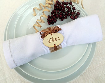 Set of 50 pcs. Personalized wooden place setting, wedding place card, wedding napking rings, wooden tags, escort card, rustic wedding