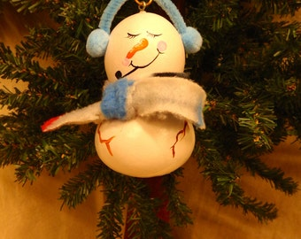 Hand crafted and hand painted gourd art snowman Christmas ornament by Debbie Easley 31