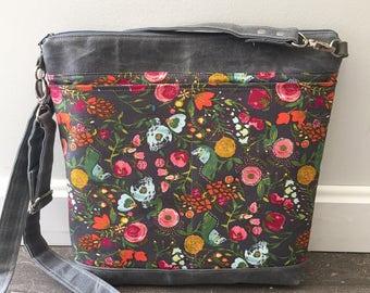 Grey crossbody bag, waxed canvas bag, floral crossbody bag