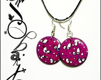 Crazy quenoeils earrings hand-painted
