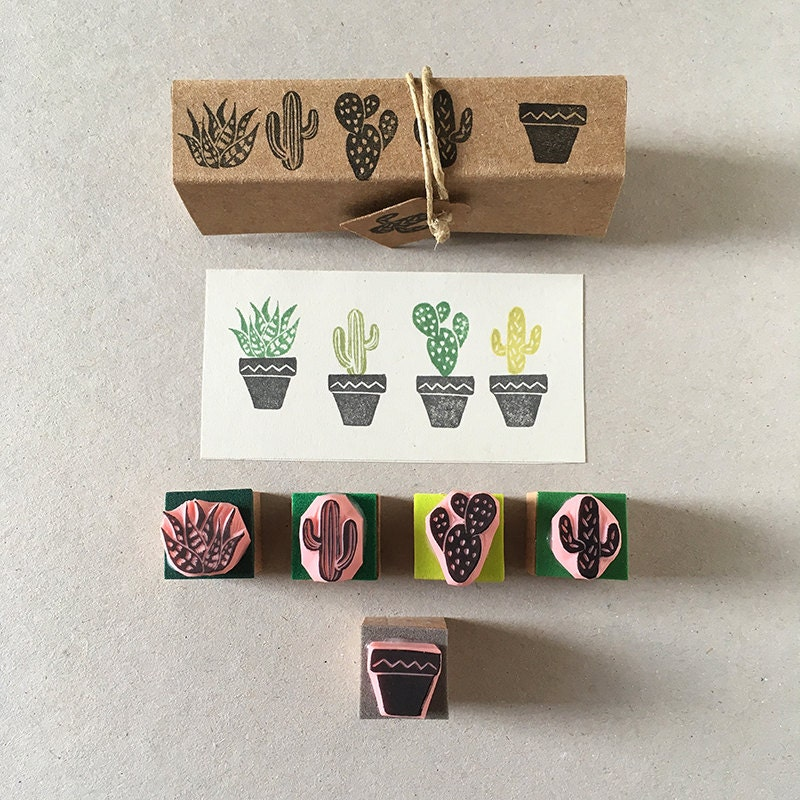 Cactus rubber stamps set of mini hand carved