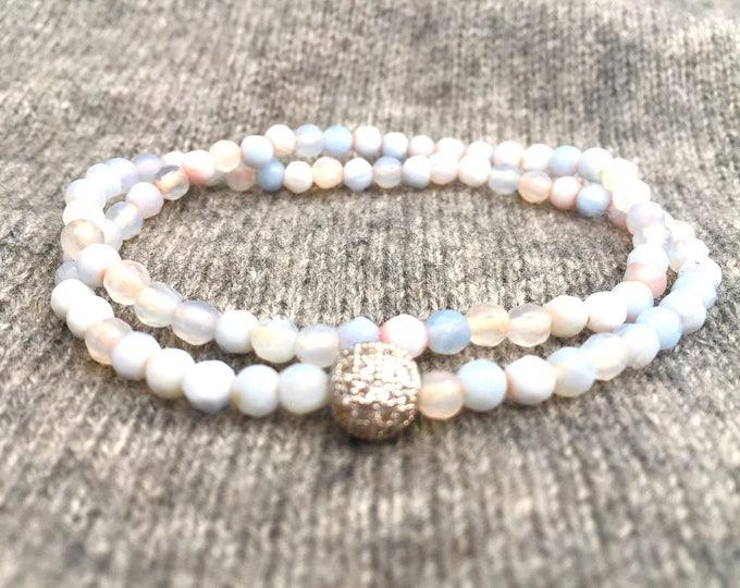 Blue Agate Double Wrap Bracelet- 4mm Blue Agate Bracelet- Blue Beaded Bracelet- Gift For Her- All Ages Girl Gift- Bridal Shower Gift