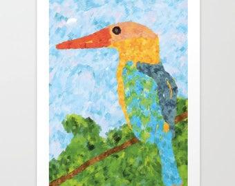 Large Art Print, Fine art prints, Bird print, Wall Art prints, Modern Art Prints, Colorful art print, Digital Art Print, Impresionism art