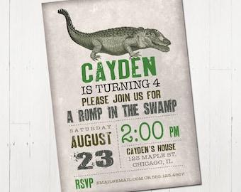 Crocodile Birthday Invitation, Alligator Invitation, Crocodile Printable Invitation, Gator Birthday Party, Crocodile Party, Alligator Party