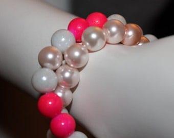 Pink Beaded Jewelry, Pink Beaded Bracelet, Pink Pearl Jewelry, Pink Pearl Bracelet, Pink Jewelry, Pink Bracelet, Bracelet with Pink Pearls