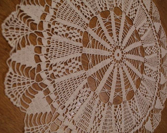 Vintage Cotton Crocheted Doily, Polish Hand made Beige / Cream Doily Lacework lace Crochet Doily Shabby Chic Made in Poland Polish folk art