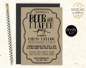 Rustic Kraft Beer & Diaper Party Invitation / Daddy Shower Invitation / Alternative Baby Shower Invitation, Kraft, Printable DIGITAL FILE