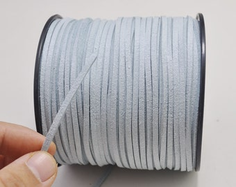 2.7mm light blue Suede Leather Cord,100 yards(One Roll) Microfiber,Vegan Suede,DIY Cord Supplies,Flat Faux Suede Cord,Supplies -- 45#