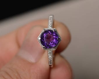 Purple Amethyst Ring Silver Round Cut Engagement Ring Promise Ring