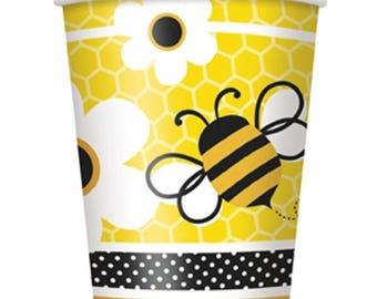8 Ct Strong 9 Oz Bumble Bee Paper Cups - Buzzing Bee's Theme Party Cups - Birthday - Shower - All Occasion